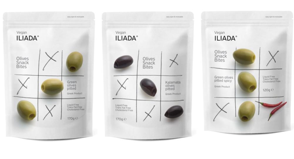 ILIADA橄榄零食(从左到右:去核绿橄榄、去核卡拉马塔橄榄、辣味去核绿橄榄),图片来源:Packaging of the World
