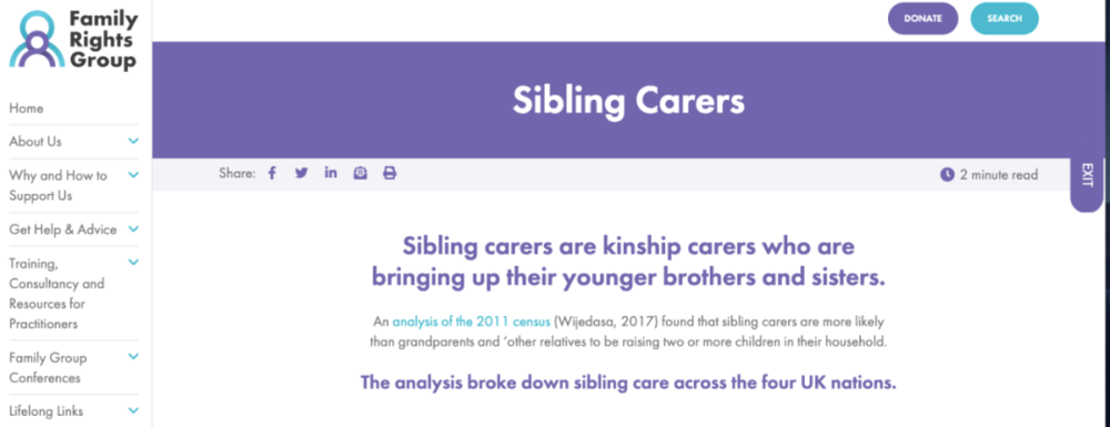 "Sibling carers,英国针对""兄弟姐妹照顾者""的支持网络<br>"
