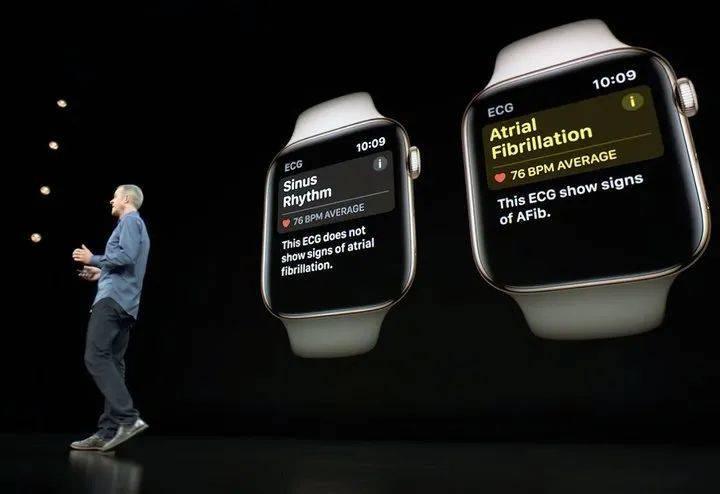 杰夫·威廉姆斯在台上讨论 Apple Watch 的新健康功能. 图片来自:appleinsider<br label=图片备注 class=text-img-note>