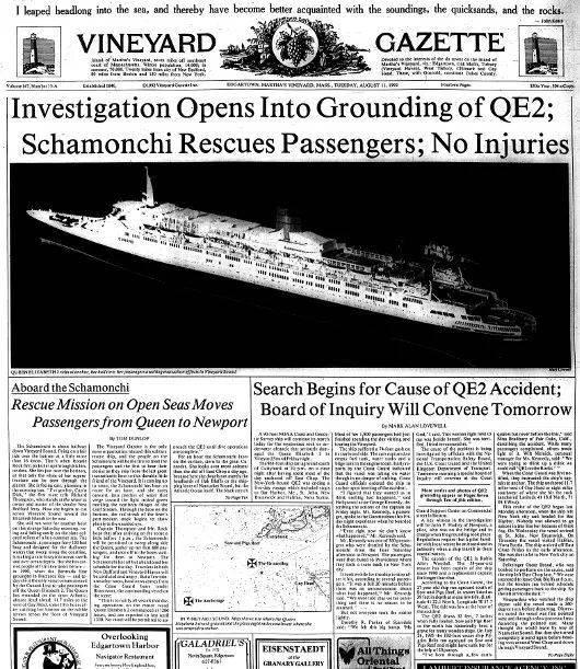 当时报纸对伊利莎白女王二号搁浅的报道。<br>